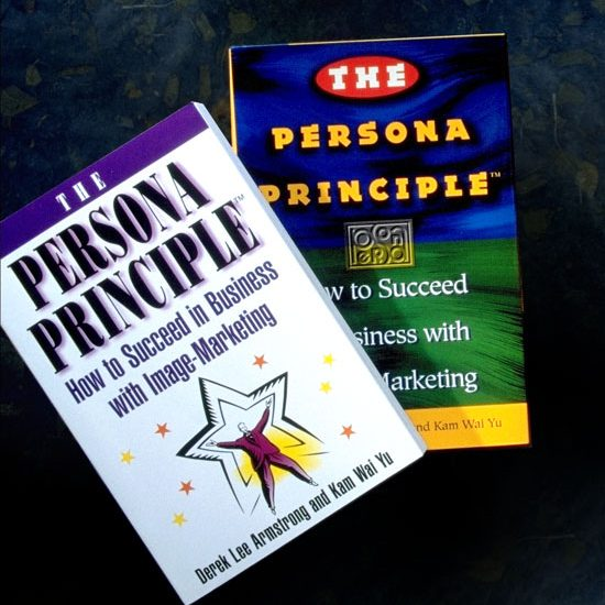The popular hardcover and softcover version of The Persona Principle, How to Succeed in Business with Image-Marketing by Derek Armstrong and Kam Wai Yu. This book defined Image-Marketing, and taught methods to create a Persona Plan to ensure success of brands. The Persona team are the experts in consulted Persona Plans.